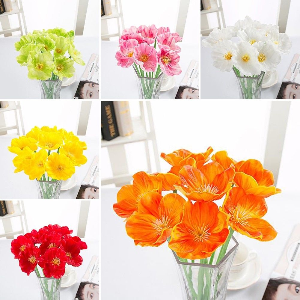 Beautiful Home Artificial Decorative Silk Fake Artificial Poppy