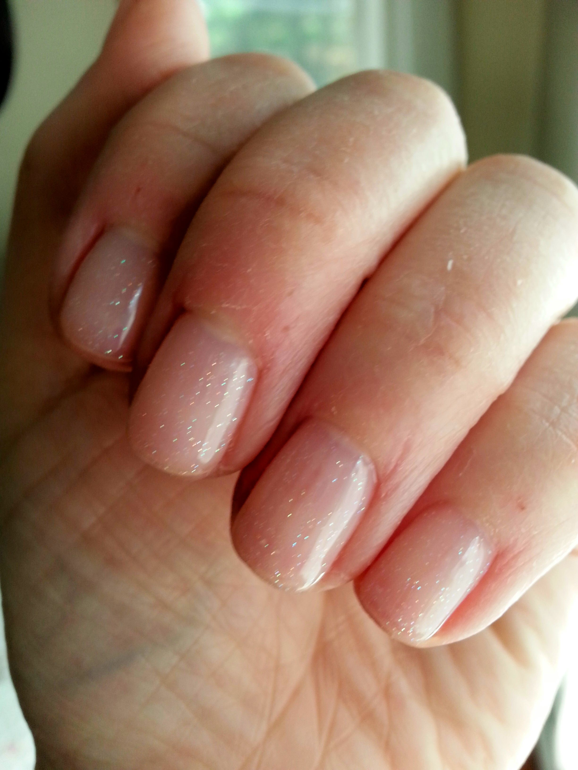 Short gel manicure. Love this subtle, clear gel with a hint of ...