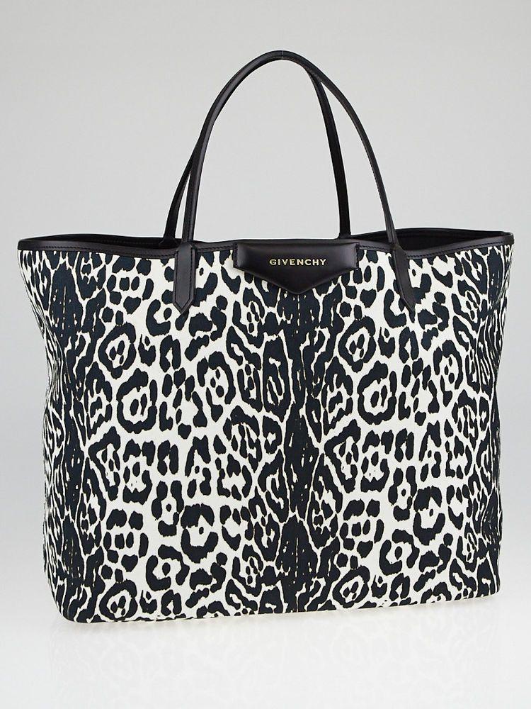 5b07bde04f7f Givenchy Black White Leopard Print Canvas Antigona Large Tote Bag  Givenchy   EverydayBagsTotes