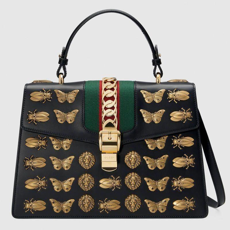2433565b8 Sylvie animal studs leather top handle bag  Guccihandbags