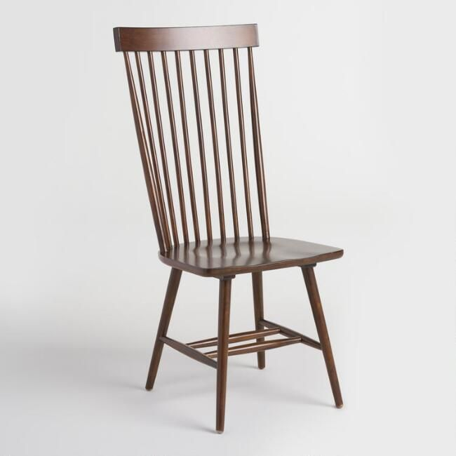 Mahogany Wood Kamron High Back Windsor Chairs Set Of 2 V1