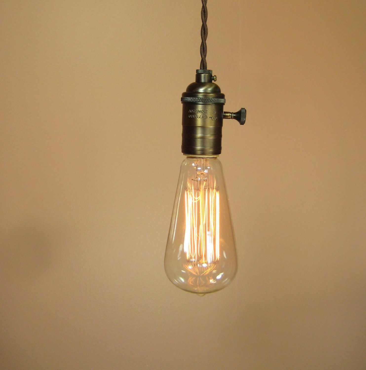 Plug In Pendant Lighting | Pendant Light With 16 Feet Of Brown, Cloth  Covered Wire