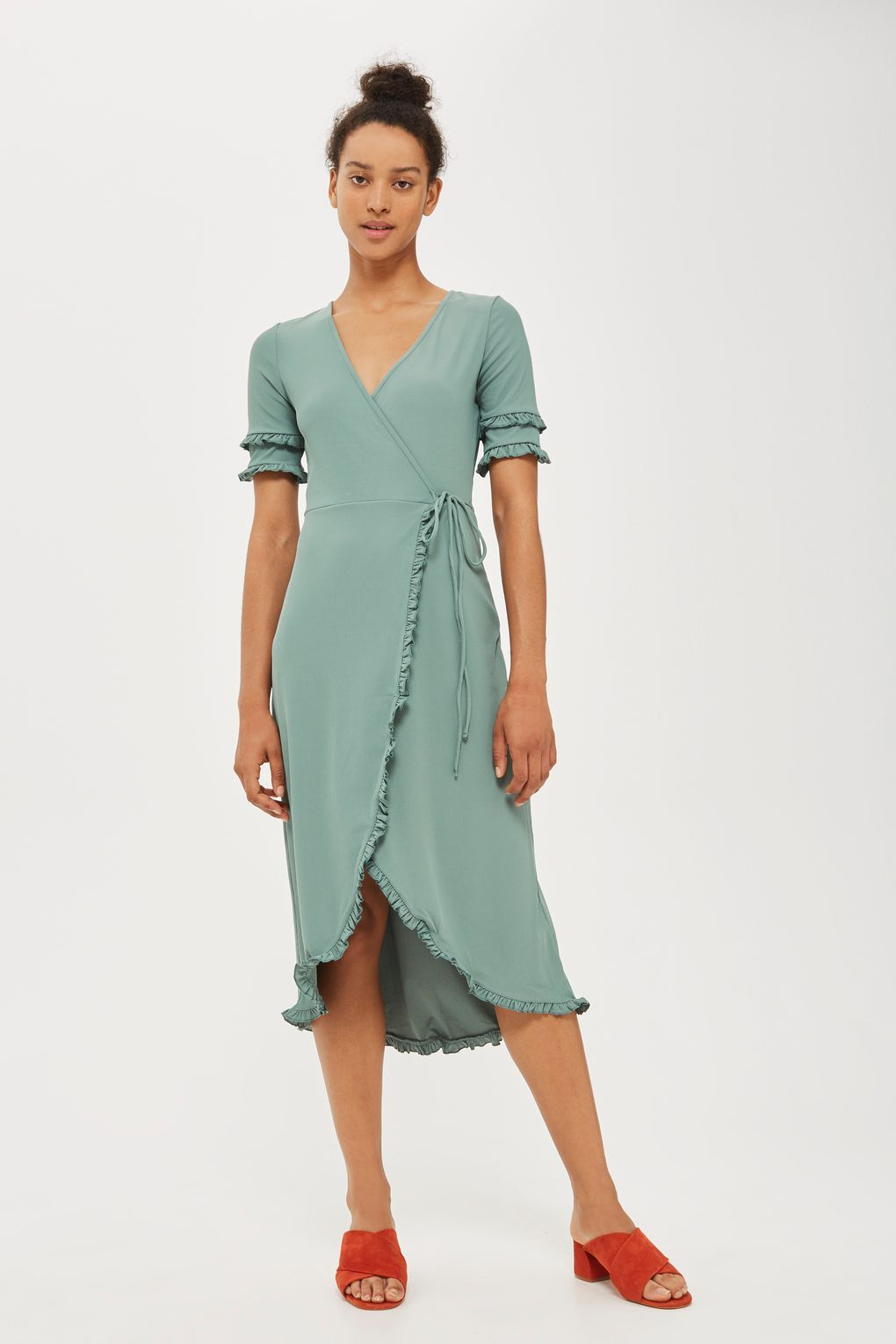 Frill Sleeve Wrap Midi Dress | Midi dresses, Topshop and Wraps