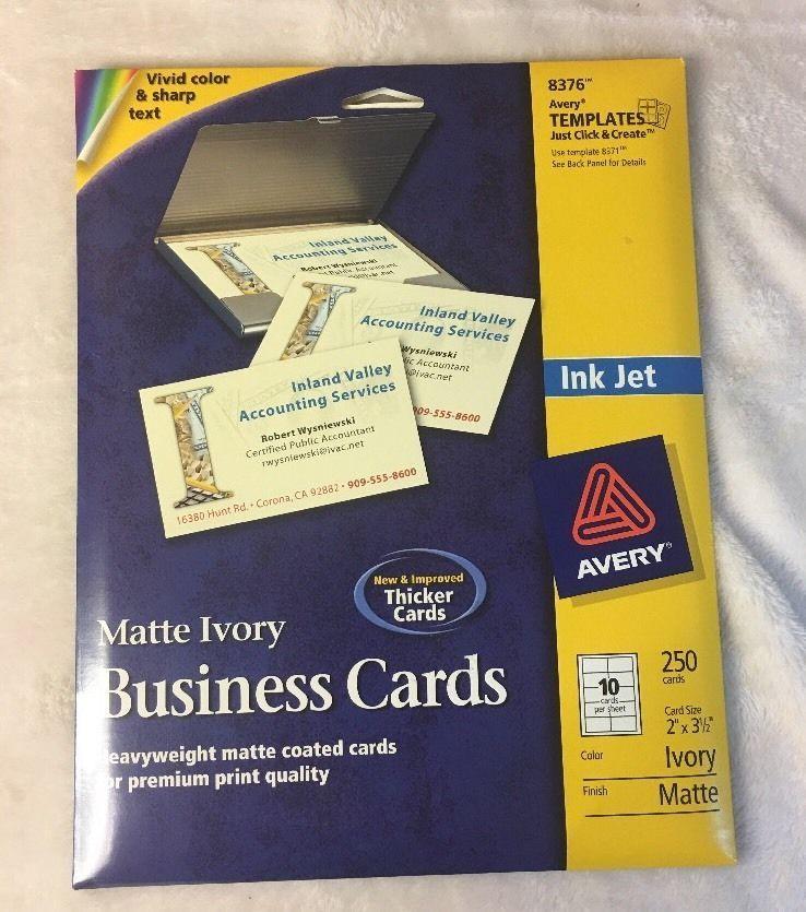 Avery Inkjet Matte Ivory Business Cards 250 Cards 8376 10 Cards Sheet Ebay Cards Business Cards Business
