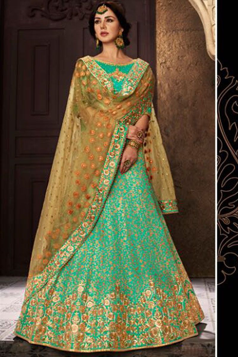 6359e43194 Rama Green Color Attractive Designer Fancy look Stylish Embroidered Party  Wear Indian Women Style Silk Fabric Weddin Wear Lehenga Choli #lehengacholi  ...
