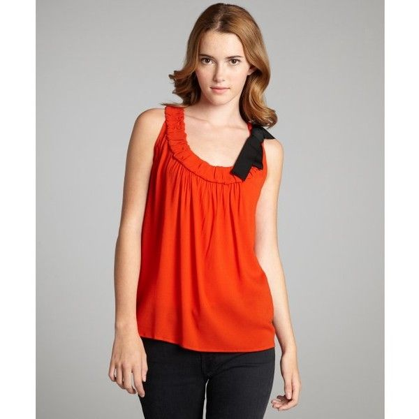 6fb7e75f3c1d Red Valentino Orange gathered scoop neck ribbon detail tank ( 136) ❤ liked  on Polyvore featuring tops