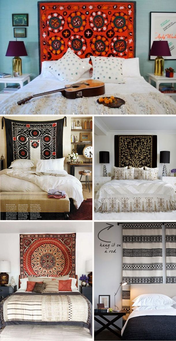 tapestry headboard love this and this