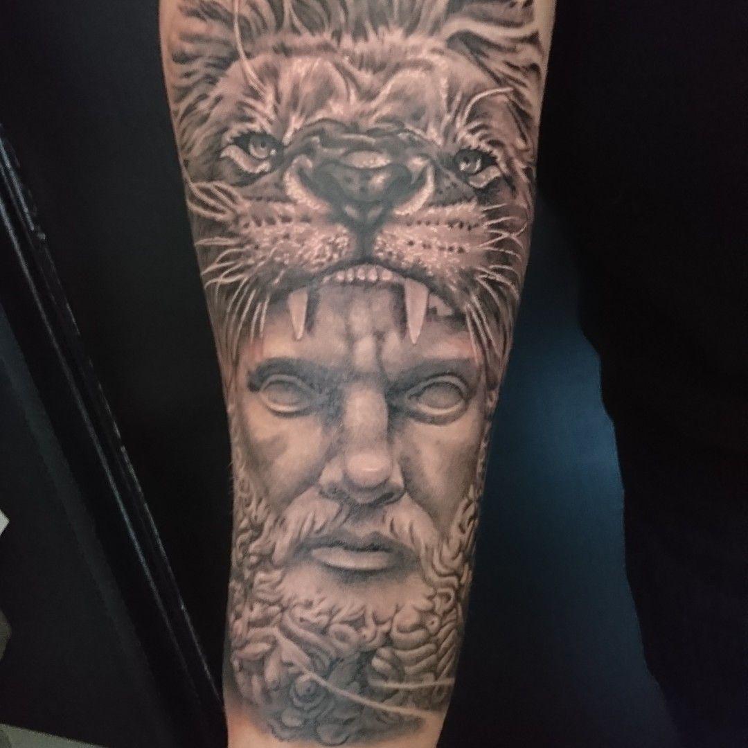 Greek Mythology Hercules Nemean Lion Tattoo Sleeve Zeus Tattoo Hercules Tattoo Mythology Tattoos