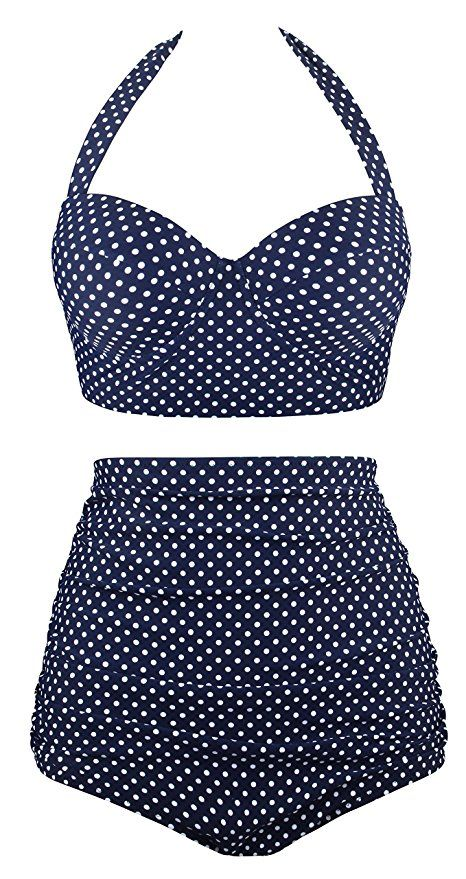 77a6f157e3 UniSweet High Waisted Two Piece Swimsuit For Women Bikini Swimwear Bathing  Suits Tankini UBKS046-N1-L