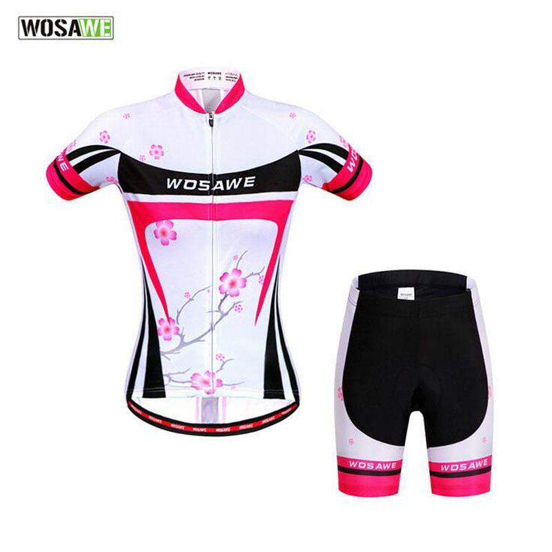 bdfc76e9b WOSAWE Cycling Set Summer Women Breathable Cycling Jersey+Cycling Shorts  Bicycle Clothing Mountain Bike Tights