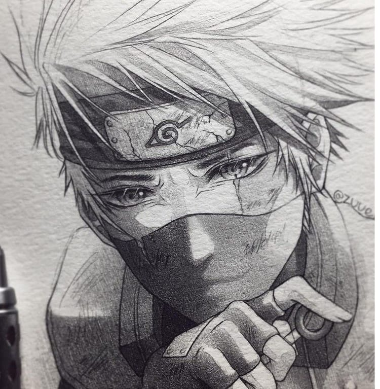 Cute Boy Et Art Image Sur We Heart It Naruto Sketch Kakashi Drawing Naruto Drawings