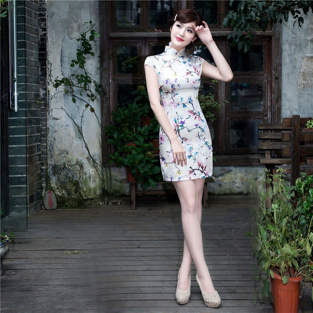 Women Skirt Charming Chinese Lady mini short evening dress Cheongsam ...