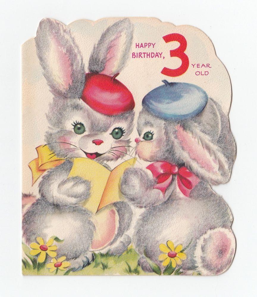 Vintage greeting card cute flocked bunny rabbit happy birthday 3 vintage greeting card cute flocked bunny rabbit happy birthday 3 year old kristyandbryce Choice Image