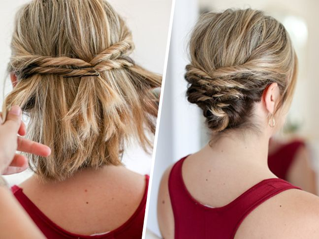 This Quick Messy Updo For Short Hair Is So Cool Short Hair Styles Short Hair Updo Medium Hair Styles