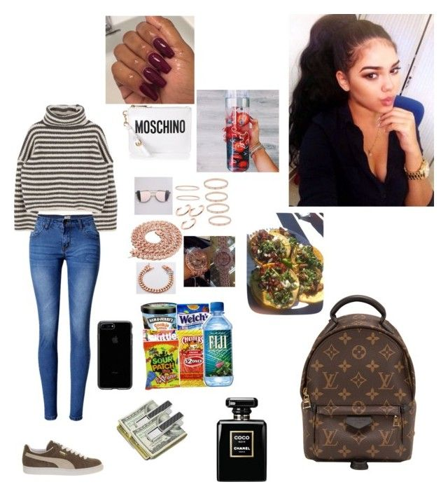 """""""Untitled #247"""" by faith-mula on Polyvore featuring WithChic, Puma, Moschino, Louis Vuitton and M-Clip"""