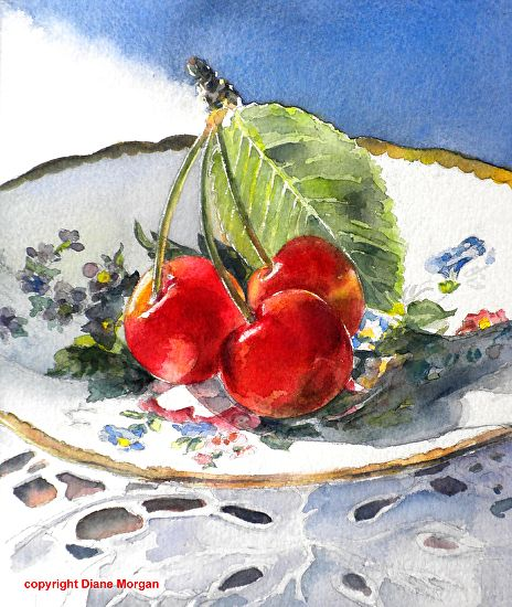 "Sunlit Cherries by Diane Morgan Watercolor ~ 10"" x 8.5"""