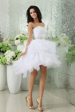 Another Example Of Short Wedding Dress With Fluffy Bottom Short Wedding Dress Wedding Dress Organza Ruffle Wedding Gown