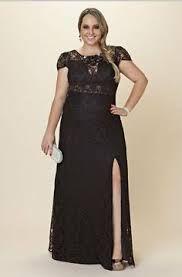 Vestido de renda preto longo plus size