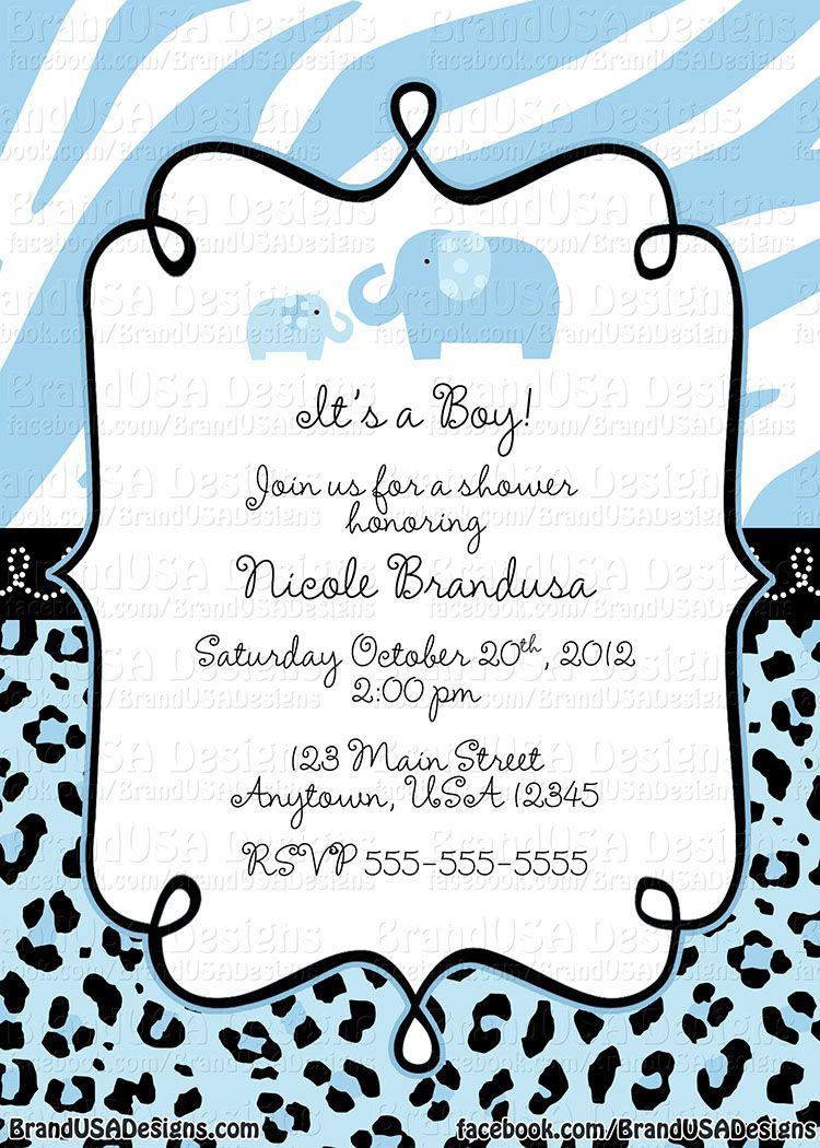 jungle baby shower invitations   blue safari custom baby shower, Baby shower invitations