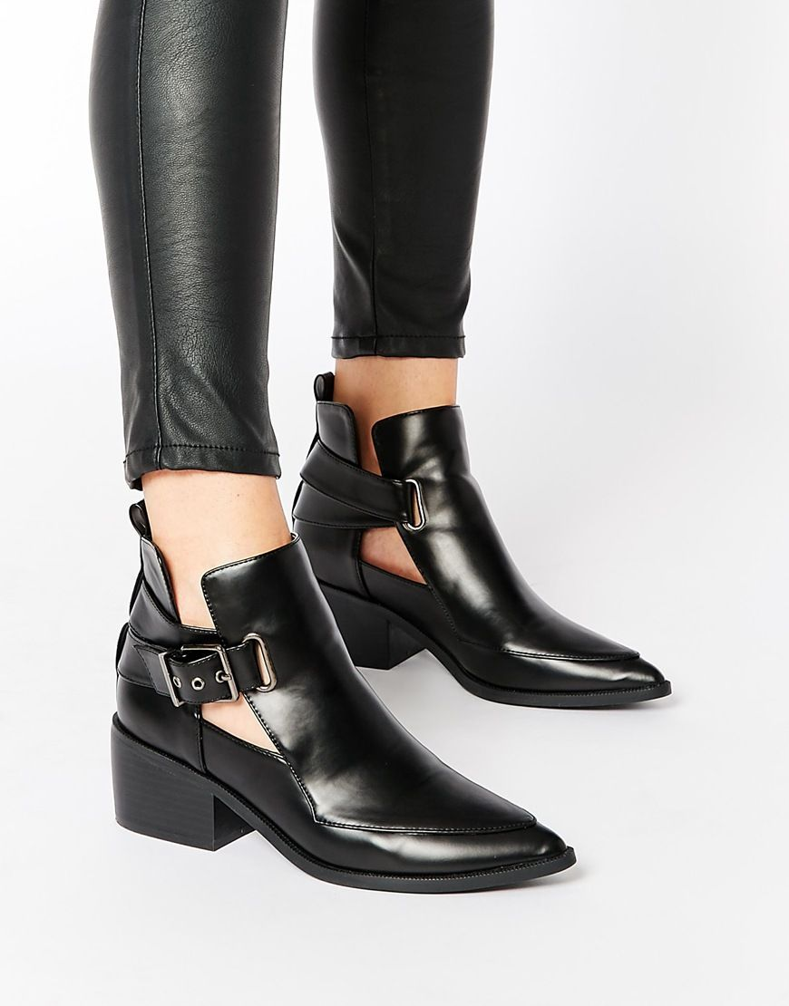image 1 of asos relish cut out pointed ankle boots. Black Bedroom Furniture Sets. Home Design Ideas