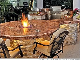 outdoor kitchen and bar with firepit, just dreamy!