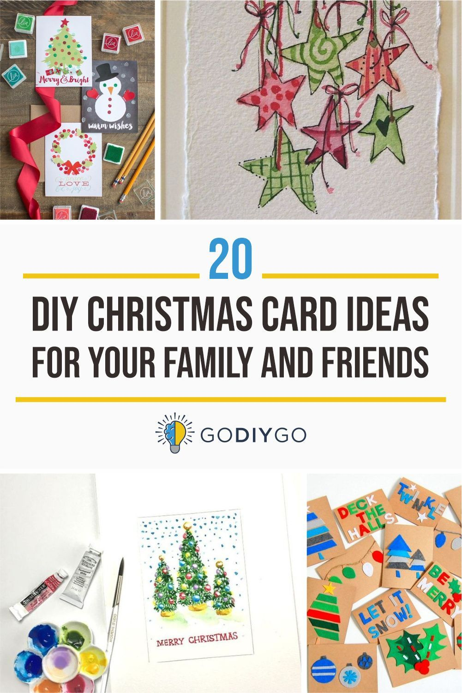 20 Diy Christmas Card Ideas For Your Family And Friends Godiygo Com Diy Christmas Cards Christmas Card Ornaments Christmas Card Design