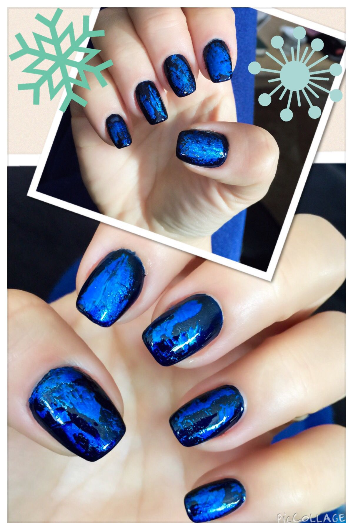 Indigo polish with blue nail foil design.