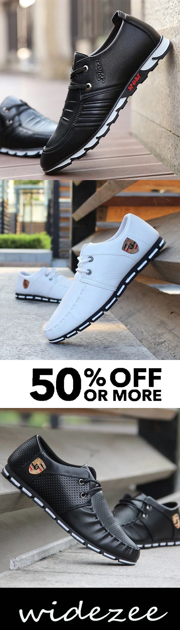 Mens Lace-up Round Toe Fashion Flat Shoes 2