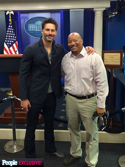 Joe Manganiello's White House Weekend Photo Diary | FOLLOWING THE LEADER | On a private tour of the White House (this stop: the press room!), Manganiello rubs elbows with White House staffer Allen Jones, who guided the actor and his group around the building.