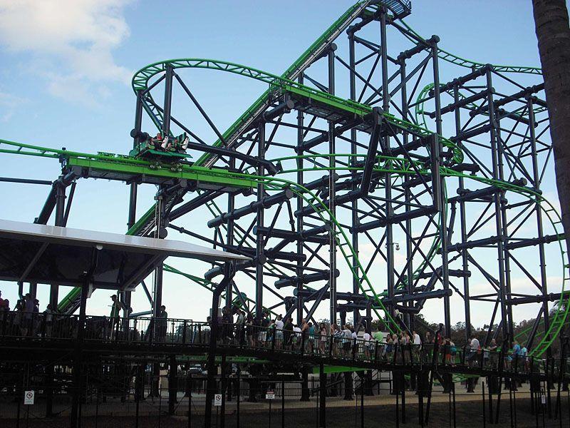 Green Lantern Coaster Warner Bros Movie World Roller Coasters