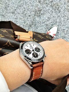 Omega Panda watch on tan bas and lokes handmade leather watch strap | by Bas and Lokes Handmade Leather Goods
