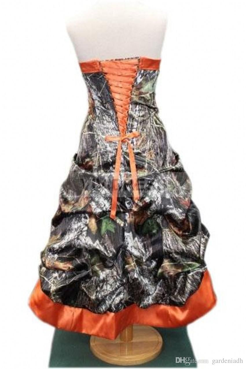 2015 orange camouflage wedding dresses hi low strapless short 2015 orange camouflage wedding dresses hi low strapless short front long back sexy camo bridal gowns actual image free custom made princess wedding dresses ombrellifo Image collections