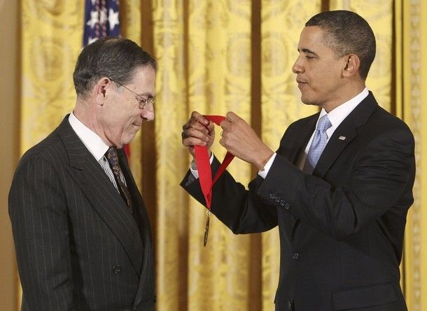 U.S. President Barack Obama presents the 2009 National Humanities Medal to Philippe De Montebello, of the Met