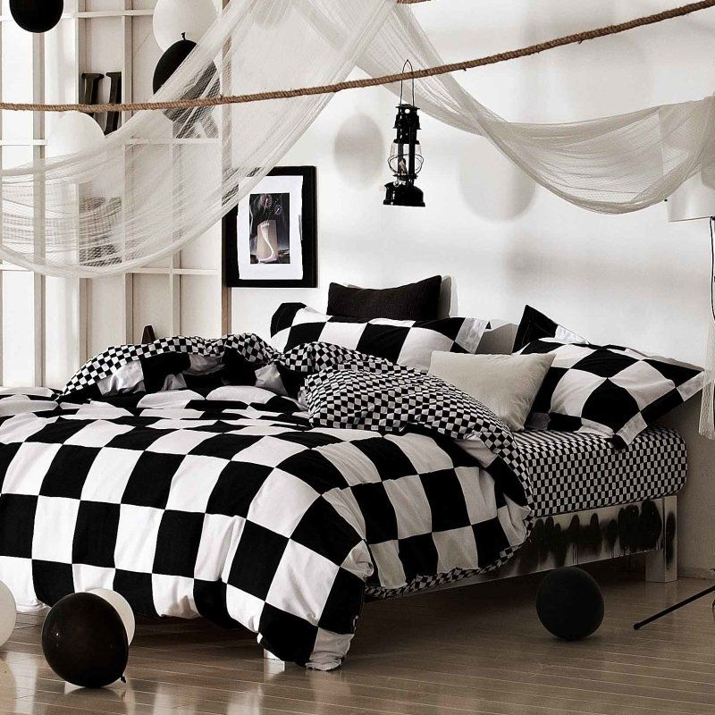 Black And White Checkered Twin Size Bedding Bedspread Bedroom Sets Bed Linens Luxury Duvet Bedding White Bed Set