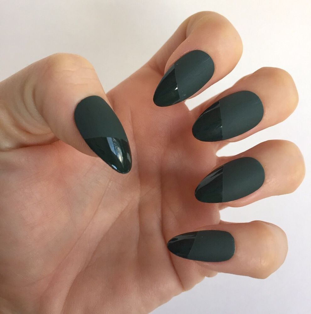 Set of 24 Handmade Dark Green Matte And Gloss Almond Press On Nails ...
