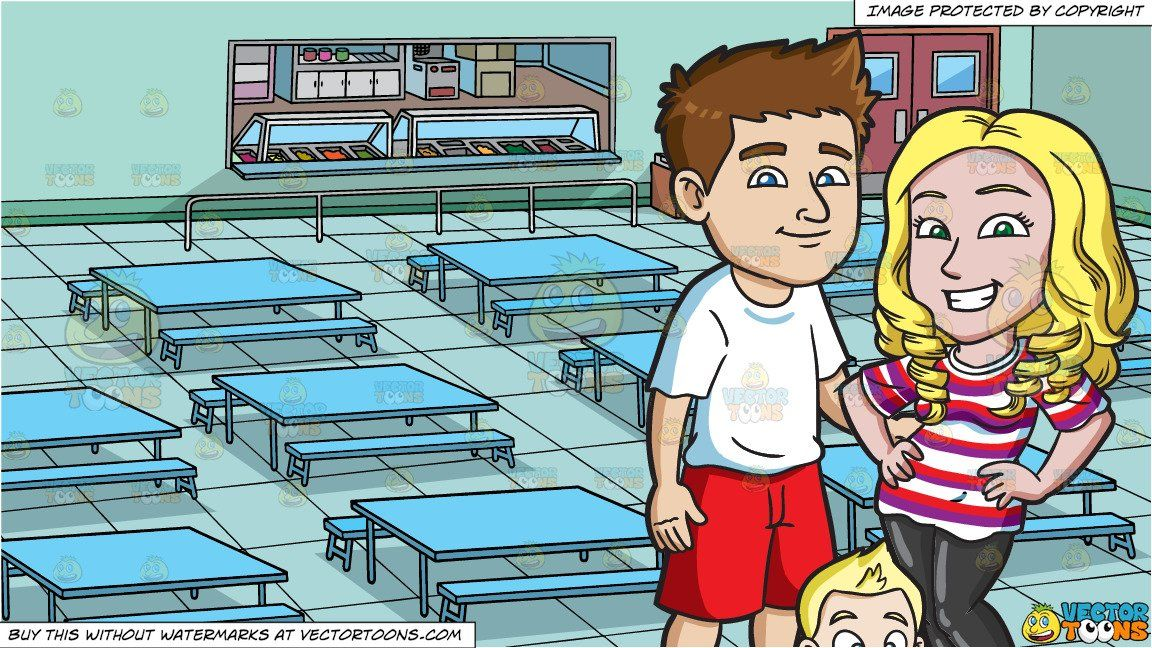 Clipart Cartoon A Young Family Of Three And A School Cafeteria
