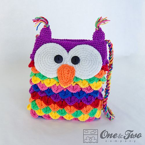 Colorful Owl Purse pattern by Carolina Guzman | Häkeltasche ...