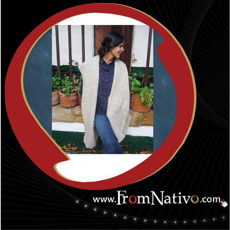 Chaleco largo, tejido en lana virgen, hecha a mano. Encuéntralo en www.FromNativo.com  -- Long vest, wool fabric, handmade. Find it in www.FromNativo.com