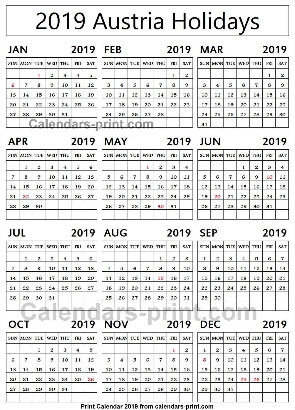 Austria 2019 Calendar With Holidays Holiday Calendar Calendar