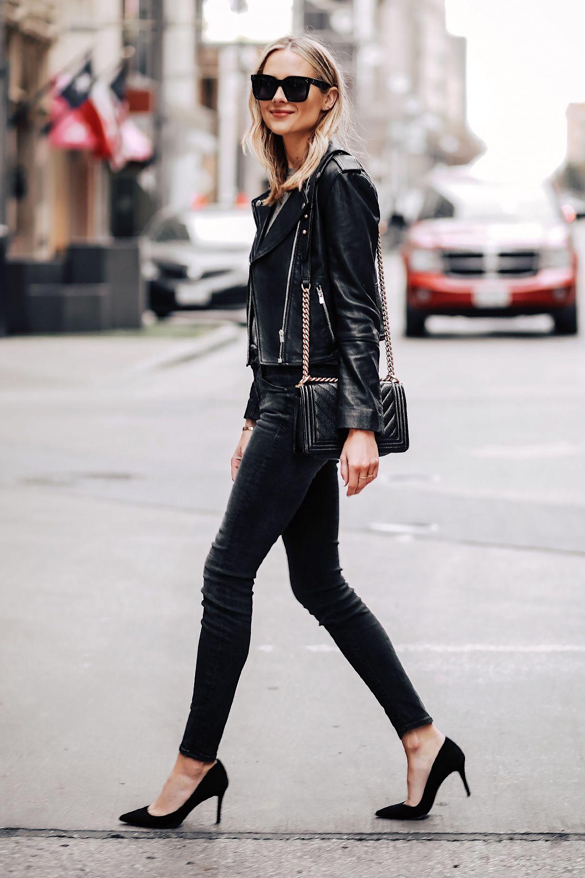 6e73cf1f4f6 Blonde Woman Wearing Club Monaco Black Leather Jacket Black Skinny Jeans  Black Pumps Chanel Black Boy Bag Fashion Jackson San Diego Fashion Blogger  Street ...