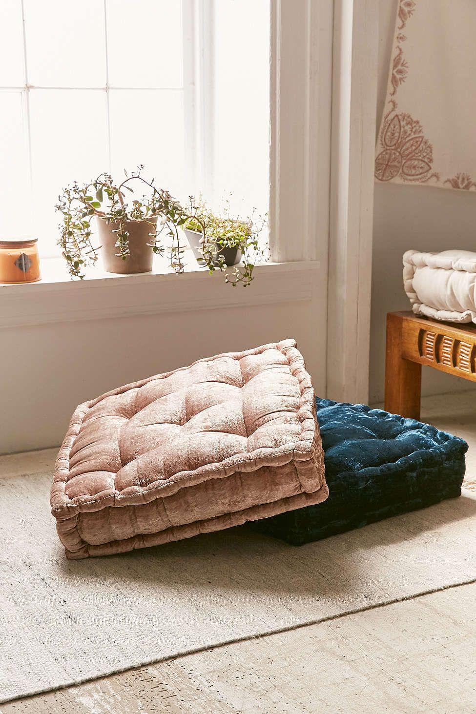 Ruthie Velvet Floor Pillow Urban Outfitters Floor Seating