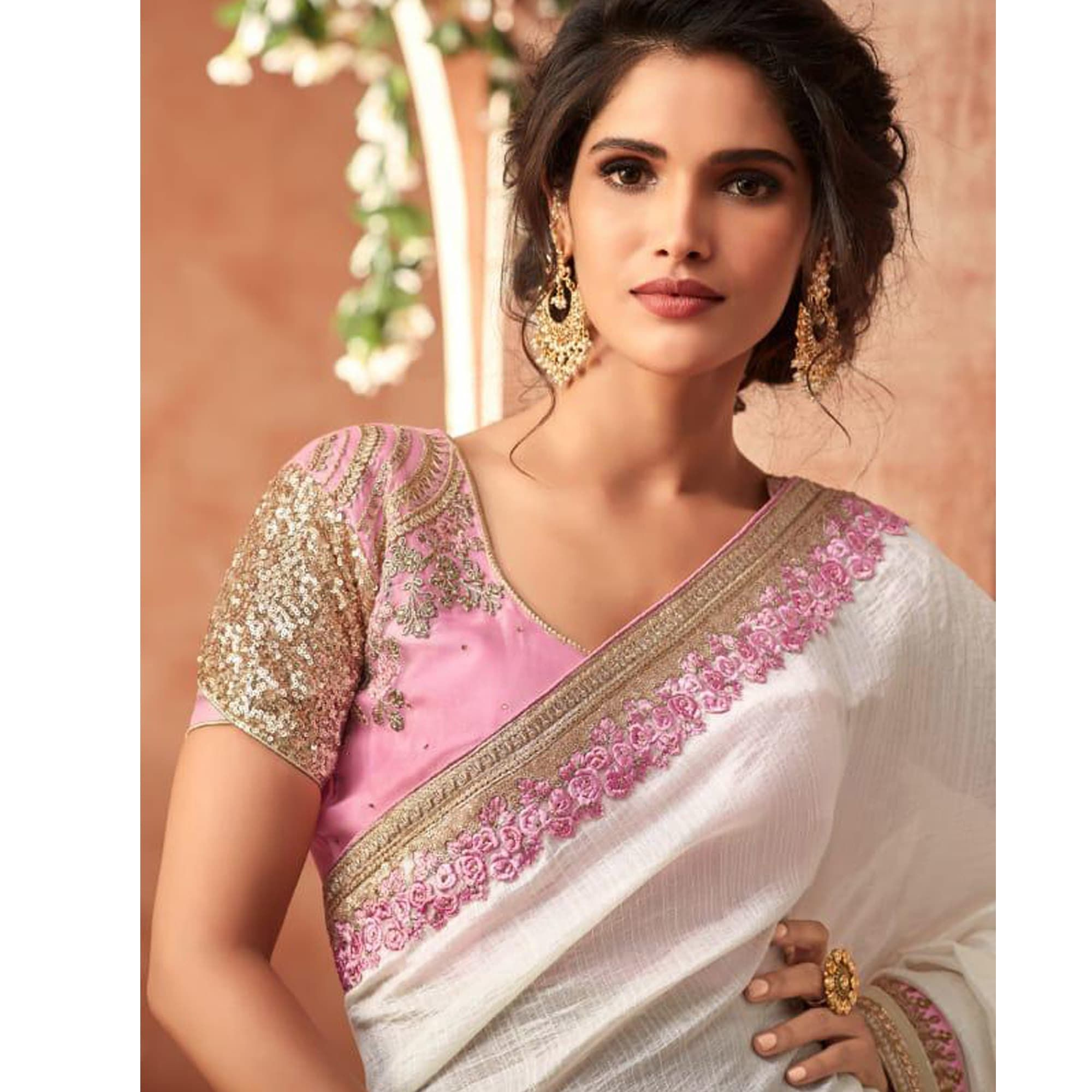 Wedding White Sarees Online: Pleasant White Colored Partywear Embroidered Georgette