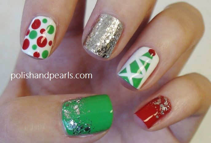Christmas Glitter Nail Polish Polka Dot Nails Holiday