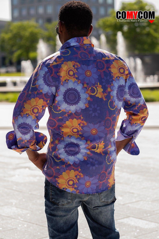 70er Flower Power Langarm Herrenhemd Mit Coolem Blumen Hippie