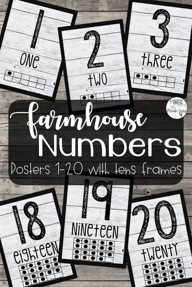 Number Posters 0-20 | Farmhouse Classroom Decor