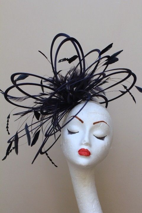 80ba6c4a New Large Black feather Fascinator Hat wedding #MaighreadStuartMillinery  $70.00