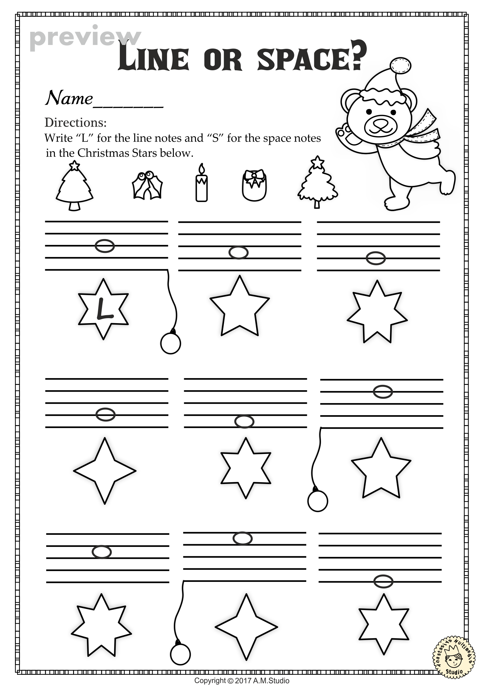 Christmas Music Worksheets Lines Spaces High Low With