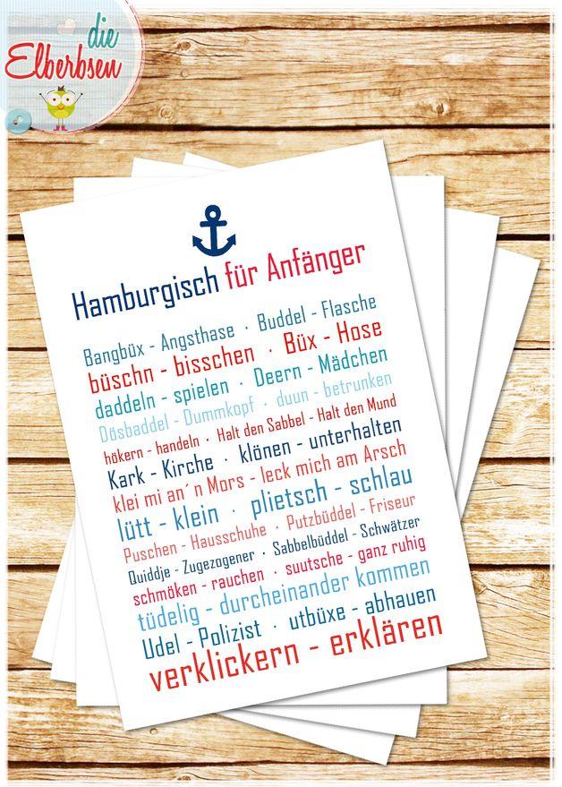 Humor - Postkarte HAMBURGISCH FÜR ANFÄNGER - ein Designerstück von die-elberbsen bei DaWanda