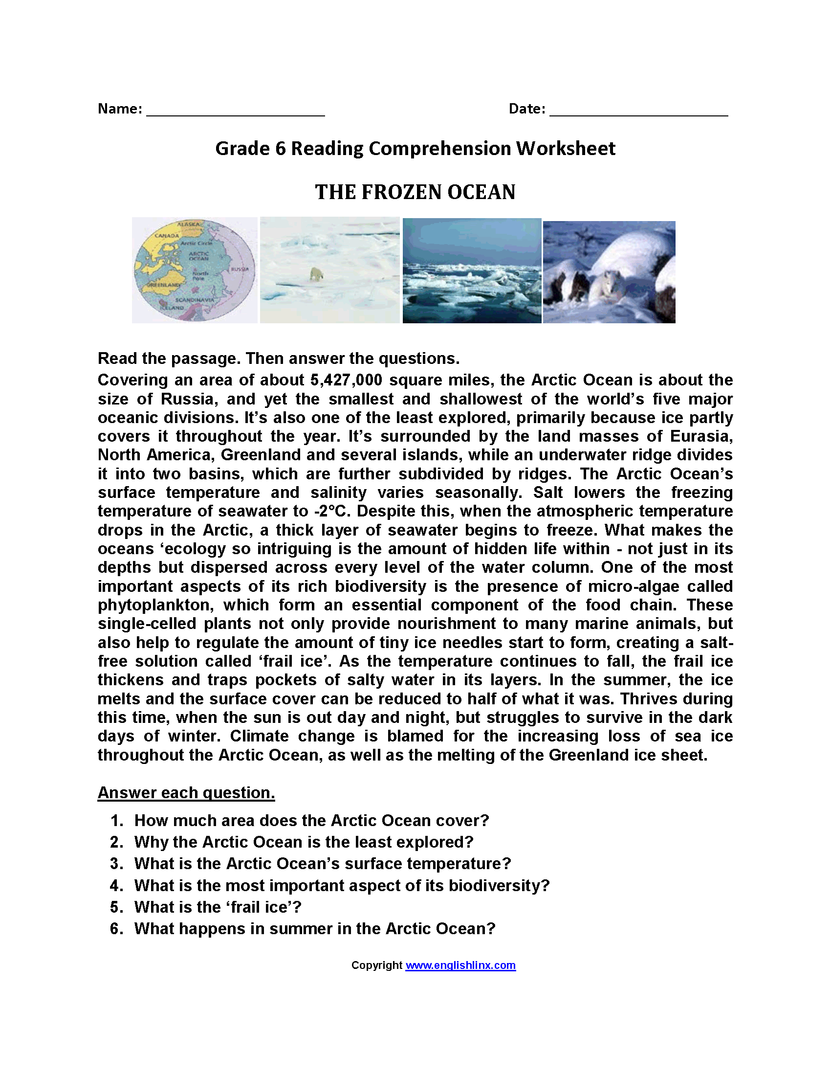 The Frozen Ocean\u003cbr\u003eSixth Grade Reading Worksheets   Reading comprehension  worksheets [ 2200 x 1700 Pixel ]