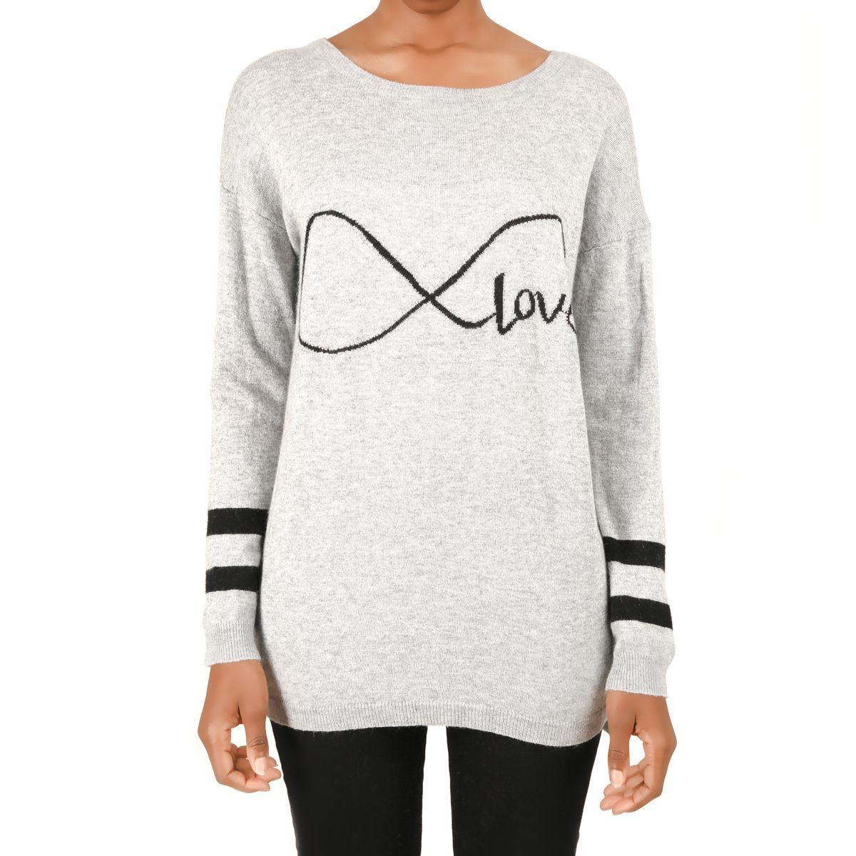 Pull long Love gris clair